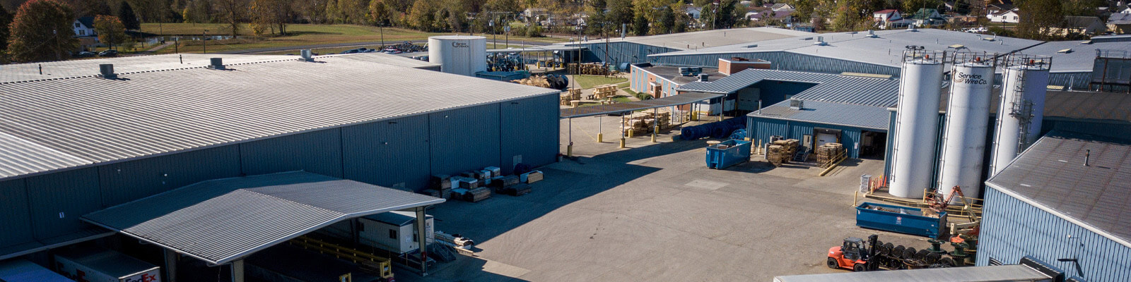 Service Wire Company Locations - a birds eye view of the current manufacturing and distribution plant in Culloden, WV