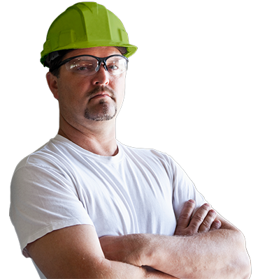 Contractor in Green Hard Hat