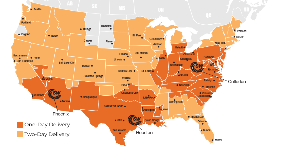 Service Wire One- and Two-Day Delivery Map - Orange