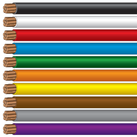 ServicePro-X® Single Conductors in a variety of industry standard colors (black, white, red, blue, green, orange, yellow, brown, grey, purple)